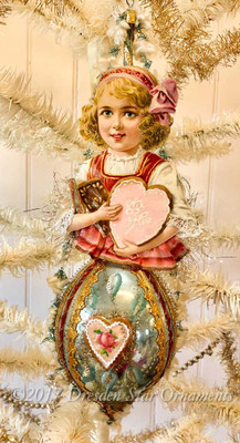 Reserved for Dennis – Gretel Gingerbread Girl on Blue Oval Ornament