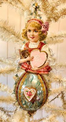 Reserved for Dennis – Gretel Gingerbread Girl on Blue Oval Ornament
