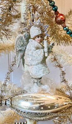 Magical Snow Angel with Candle on Silver Christmas Ship Ornament