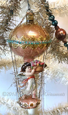 Petite Angel/Fairy with Flower Basket in Pastel Antique Double Balloon with Delicate Beadwork