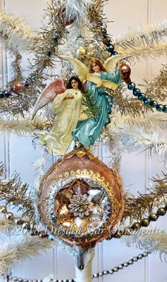 Reserved for Dennis – Gorgeous Celestial Angels on Antique Glass Ornament with Star Center