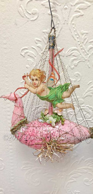 Reserved for Gabrielle – Fairy Riding Pink Antique Swan
