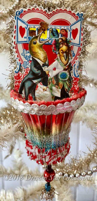Theatrical Bird Couple Valentine in Fanciful Multicolored Glass Bell Ornament