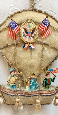 Reserved for Stacy – Patriotic Children in Wool Batting Hot Air Balloon