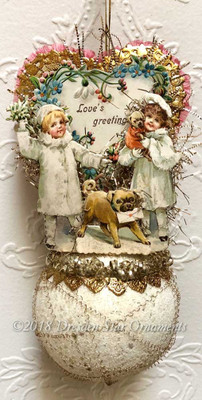 Reserved for Don - Valentine Couple with Pugs on Frosted Ornament