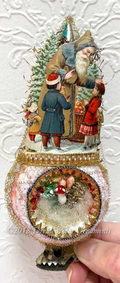 Reserved for Dennis – Father Christmas with Children on Frosty Spindle Indent Clip-On Ornament