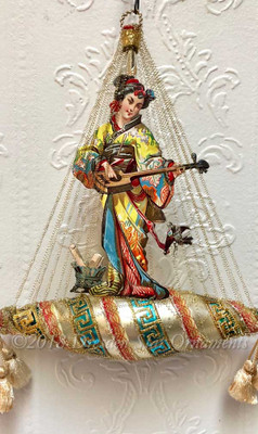 Reserved for Susan – Japanese Lady Playing Musical Instrument on Elaborately Decorated Glass Boat