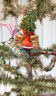 Reserved for Jennifer – Santa Riding Clip-on Wild Glass Bird Ornament