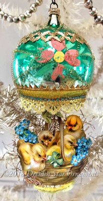 Baby Chicks in Large Green Glass Lamp Ornament