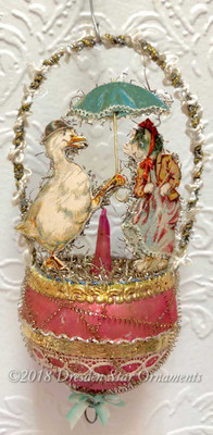 Gentleman Duck Holding Umbrella for Lady Cat on Antique Rose Glass Top Ornament