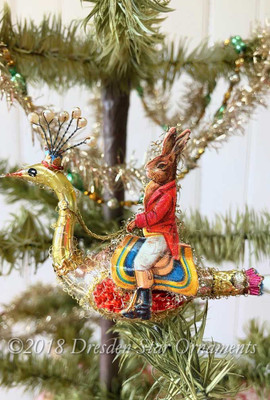 Rabbit Riding Glass Peacock Clip-On Ornament