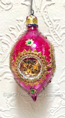 Four Adorable Kitty-Cats Framed in Purple Teardrop Indent Ornament