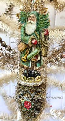 Green Woodland Santa on Green Pinecone Rimmed with Antique Pearls