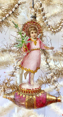 Christ-Child Angel wit oh Treen Antique Victorian Pink and Gold Ship with Original Pike