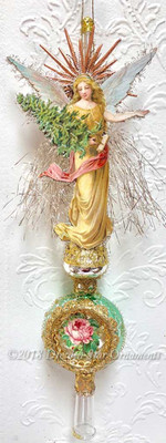 Delicate Angel with a Tree on Pastel Green and Silver Spire Topper with Rose