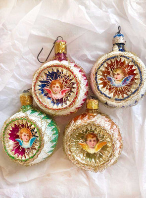 Reserved for Ruth – Set of Four Angels on Small Red, Blue, aqua, and Gold Indent Ornaments