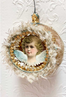 Reserved for Ruth – Angel with Dusty-Blue Wings on Pastel Indent Ornament Edged in Chenille Tinsel