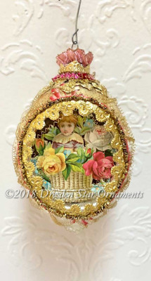 Victorian Child in Flower Basket Inside Oval Indent Ornament accented with Rose-Pink