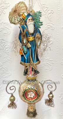 Blue Santa with Paper Parasol on 3-Sided Silver Spire Topper with Dangling Beads
