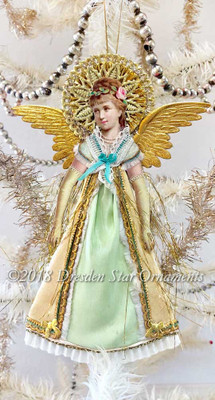 Serene Young Dresden Angel in Beautiful Slender Soft Yellow and Green Dress