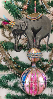 Reserved for Dennis – Circus Elephant Balancing on Deluxe Double Sphere Ornament