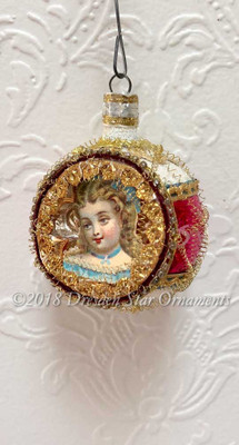 Perfectly Dainty Maiden in Petite Frosted White and Magenta Indent Ornament