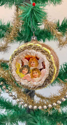 Trio of Angels in Large Satin Buff Indent Ornament Framed with Silver Bullion Braid