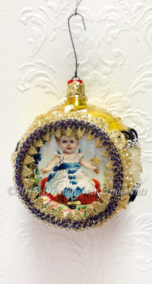 Victorian Little Girl in Large Yellow Ornament Accented in Dark Blue