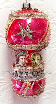Dog and Girl Riding Pink Double Balloon with Glittered Silver Stars