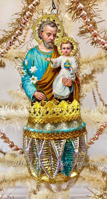 St. Joseph with Baby Jesus in Frosted Multifaceted Ornament