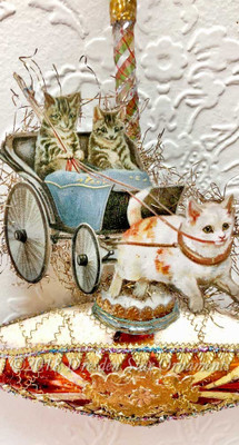 Cats Riding Victorian Carriage on Oblong Glass Ornament