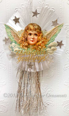 Large Rare  Angel on Six-Inch Spun-Glass Disk with Glittered Stars