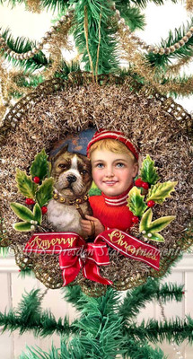 Boxer Dog with His Boy Companion Inside Tinsel Wreath With Beautiful Holly Decoration