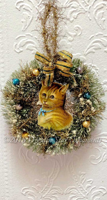 Cute Orange Tabby Cat Inside Bottle Brush Wreath Ornament