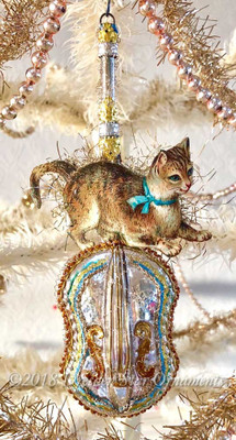 Cat on a Sparkling Silver Glass Fiddle Ornament