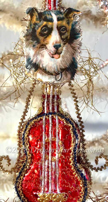 Sheltie/Collie Dog on Glass Red Guitar Ornament Gilded with Silver and Gold