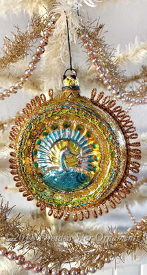 Large Glass Indent Ornament with Beautiful Rare Embossed Peacock