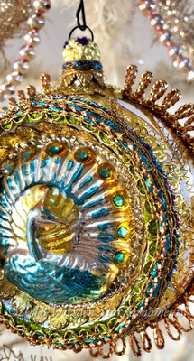 Rare Large Glass Indent Ornament with Beautiful Embossed Peacock