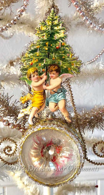 Angels with Tree on Rare Antique Reflector Indent with Art Glass Flower Center