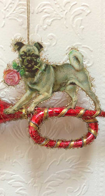 Grey Dog with Rose Balancing on Fancy Red Glass Horn