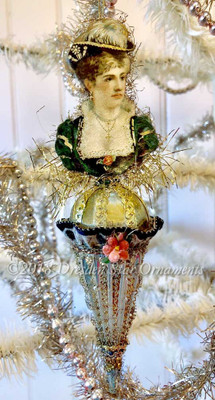 Gold Embossed High Victorian Lady on Silver Cone Ornament with Dramatic Black Accents