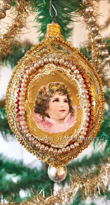 2 Angel Cherubs in Gilded Two-Sided Oval Indent Ornament Detailed in Dresden Paper and Pearls