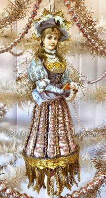Beautiful Victorian Lady in Tudor-Style Dress with Bumpy Glass Tulip Skirt Ornament