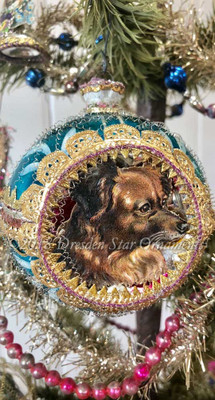 Handsome Large Blue Two-Sided Indent Ornament with Two Dogs