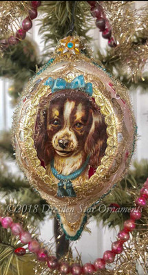 Two-Sided Pink Teardrop Ornament with English Springer Spaniel Dog and Pansy