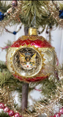 Three Different Kittens framed in 3-Sided Red and White Indent Ornament