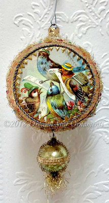 Carol-Singing Birds on Elaborately Jeweled Orange Indent with Green Glass Bead