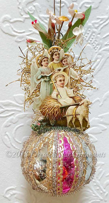 Jesus with Lamb and Three Angels on Multi-colored Sphere with Fabric Flowers