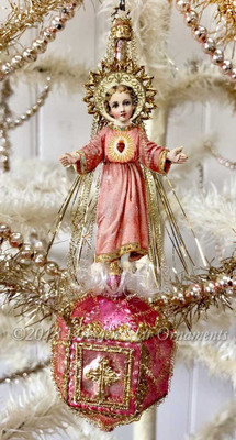Serene Christ-Child On Ornate Antique Pink Ornament with Dresden Paper Cross