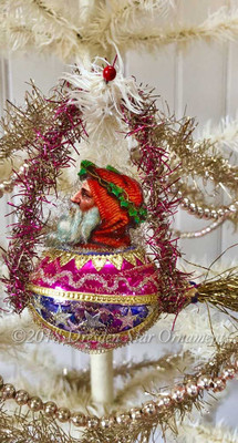 Hooded Santa Riding Magenta and Blue Glass Rocket with Gorgeous Matching Tinsel